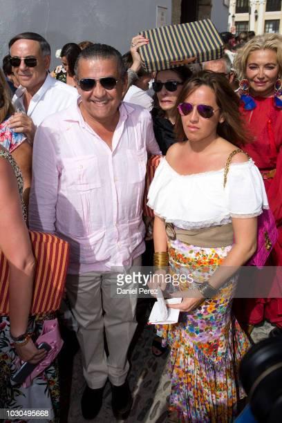 Jaime Martinez-Bordiu and Marta Fernandez are seen arriving at La Goyesca bullfights on September 1, 2018 in Ronda, Spain.