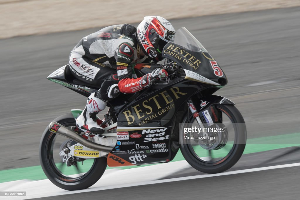Jaime Masia of Spain and Bester Capital Dubai heads down a straight during the qualfying practice during the MotoGp Of Great Britain - Qualifying at Silverstone Circuit on August 25, 2018 in Northampton, England.