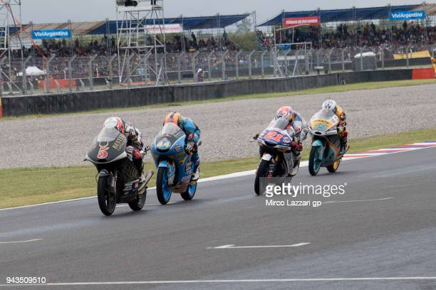 Jaime Masia of Spain and Bester Capital Dubai KTM leads the field during the Moto3 race during the MotoGp of Argentina Race on April 8 2018 in Rio...
