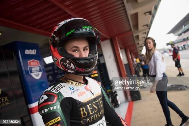 Jaime Masia of Spain and Bester Capital Dubai looks on in pit during the MotoGp of Catalunya Free Practice at Circuit de Catalunya on June 15 2018 in...