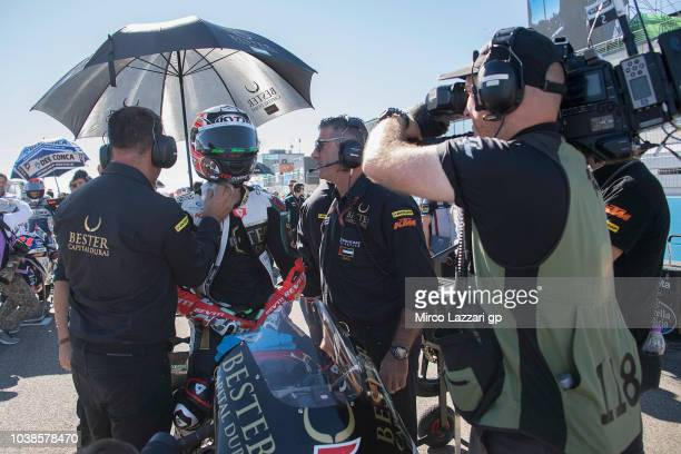 Jaime Masia of Spain and Bester Capital Dubai prepares to start on the grid during the Moto3 race during the MotoGP of Aragon Race at Motorland...