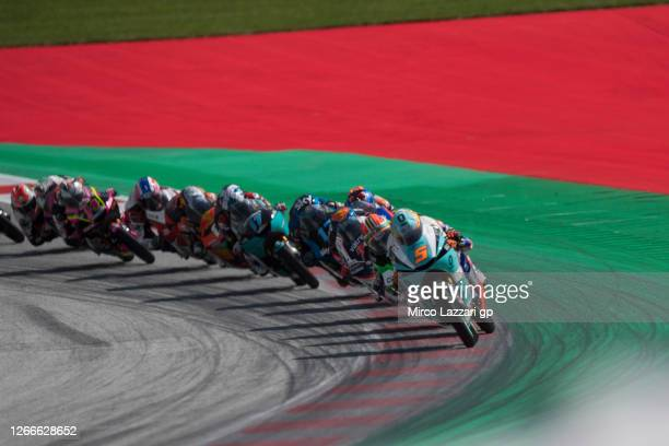 Jaime Masia of Spain and Leopard Racing leads the field during the Moto3 race during the MotoGP Of Austria - Race at Red Bull Ring on August 16, 2020...