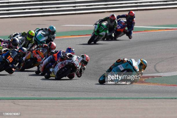 Jaime Masia of Spain and Leopard Racing leads the field during the Moto3 race during the MotoGP of Aragon at Motorland Aragon Circuit on October 18,...