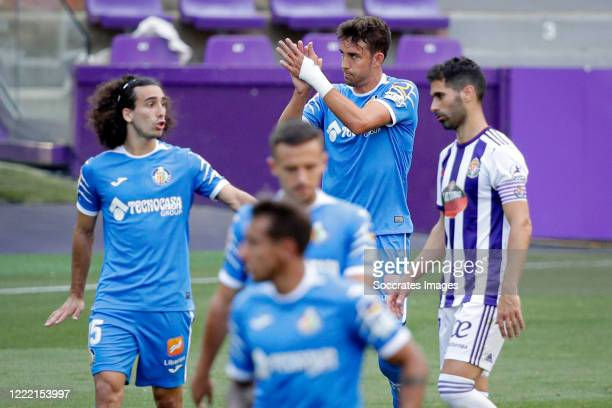 Jaime Mata of Getafe celebrates 0-1 during the La Liga Santander match between Real Valladolid v Getafe at the José Zorrilla stadium on June 23, 2020...