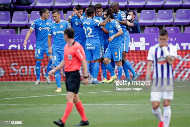 Jaime Mata of Getafe celebrates 0-1 with Mauro Arambarri of Getafe, Nemanja Maksimovic of Getafe, Damian Suarez of Getafe, Marc Cucurella of Getafe...