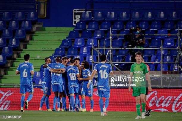 Jaime Mata of Getafe celebrates 1-0 with Chema of Getafe, Allan Nyom of Getafe, Mauro Arambarri of Getafe, Marc Cucurella of Getafe during the La...