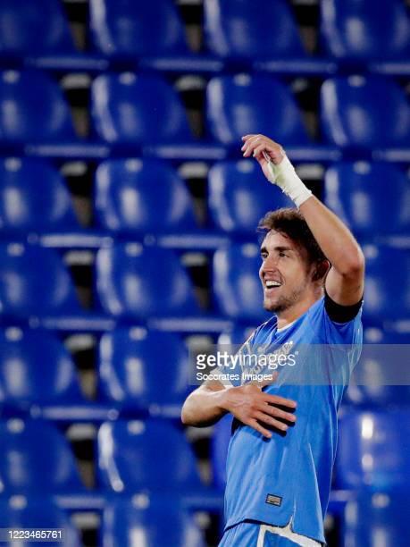 Jaime Mata of Getafe celebrates 2-1 during the La Liga Santander match between Getafe v Real Sociedad at the Coliseum Alfonso Perez on June 29, 2020...