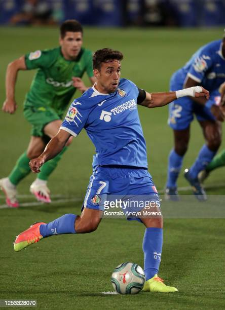 Jaime Mata of Getafe scores the first goal during the Liga match between Getafe CF and Real Sociedad at Coliseum Alfonso Perez on June 29 2020 in...