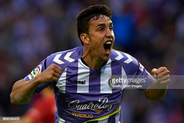 Jaime Mata of Real Valladolid celebrates scoring his team's third goal during the La Liga 123 play off match between Real Valladolid and Real...