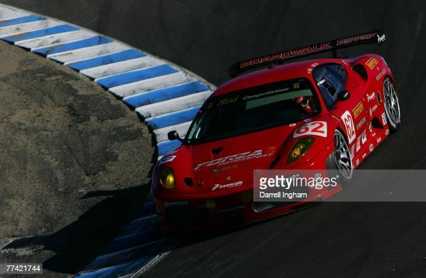Jaime Melo drives the Risi Competizione Ferrari 430 GT during practice for the American Le Mans Series Monterey Sports Car Championship on September...