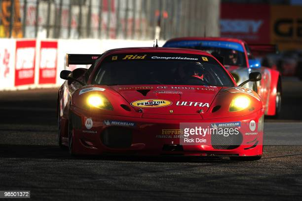 Jaime Melo of Brazil drives the Risi Competizione Ferrari 430 GT during the Tequila Patron American Le Mans Series at the Toyota Grand Prix on April...