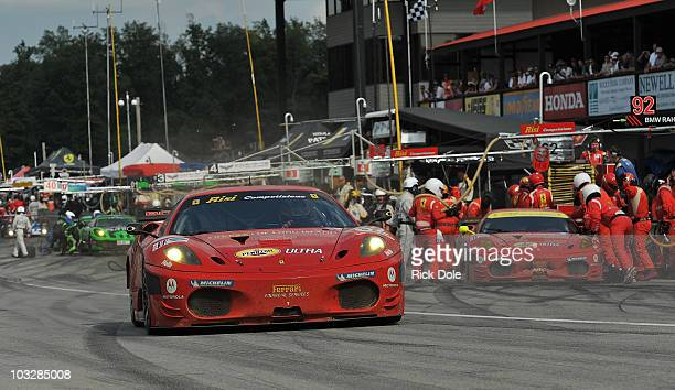 Jaime Melo of Brazil exits the 2nd round of pits stops and take the lead in the Risi Competizione Ferrari 430 GT during the American Le Mans Series...
