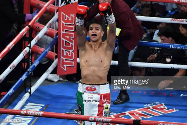 Jaime Munguia celebrates his fifthround TKO against Brandon Cook during their WBO junior middleweight title fight at TMobile Arena on September 15...