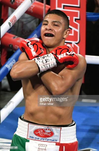 Jaime Munguia celebrates his fifthround TKO win over Brandon Cook in their WBO junior middleweight title fight at TMobile Arena on September 15 2018...