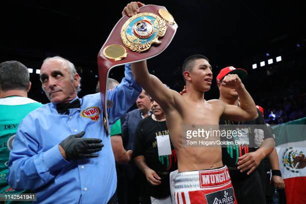 Jaime Munguia celebrates his victory over Dennis Hogan on April 13 2019 at Arena Monterrey in Monterrey Mexico