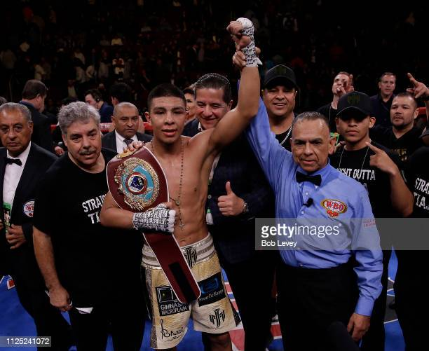Jaime Munguia celebrates his victory over Takeshi Inoue for the WBO Junior Middleweight championship at Toyota Center on January 26 2019 in Houston...