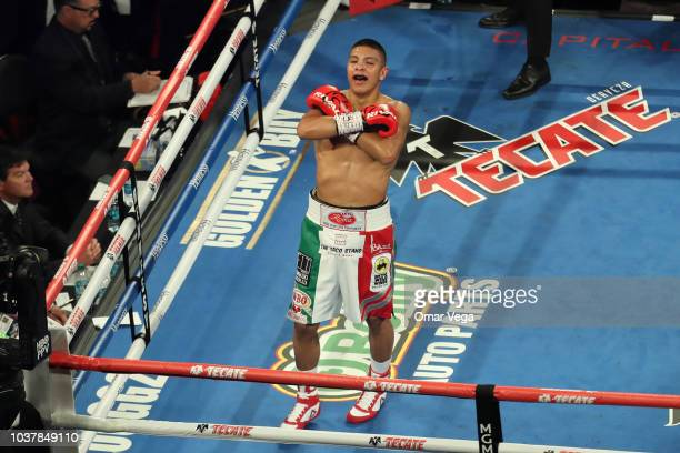 Jaime Munguia celebrates his win against Brandon Cook in the WBO Junior Middleweight Title bout at TMobile Arena on September 15 2018 in Las Vegas...