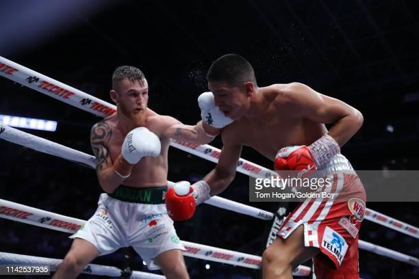 Jaime Munguia fights Dennis Hogan on April 13 2019 at Arena Monterrey in Monterrey Mexico