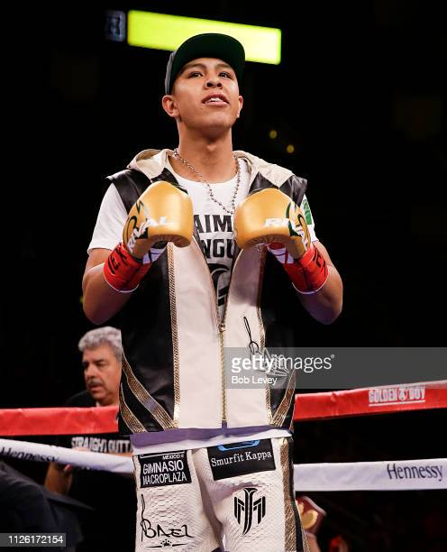 Jaime Munguia is introduced before fighting Takeshi Inoiue of Japan for the WBO Junior Middleweight championship at Toyota Center on January 26 2019...
