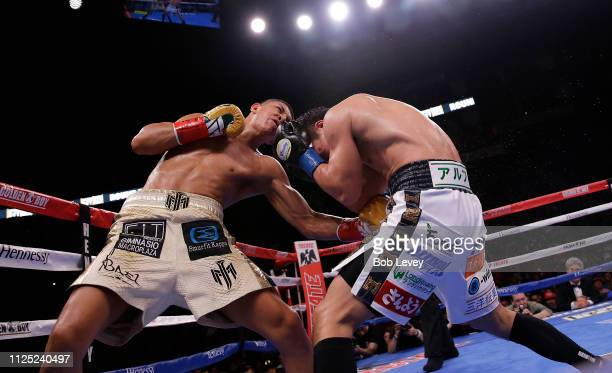 Jaime Munguia lands a body shot to Takeshi Inoue during their WBO Junior Middleweight championship fight at Toyota Center on January 26 2019 in...
