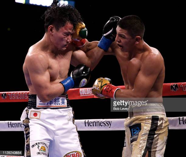 Jaime Munguia lands a left hook to the head of Takeshi Inoue during their WBO Junior Middleweight championship fight at Toyota Center on January 26...