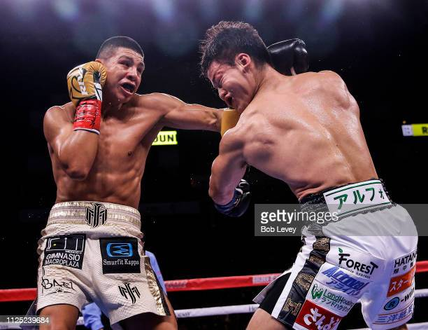 Jaime Munguia lands a solid punch to the head of Takeshi Inoue during their WBO Junior Middleweight championship fight at Toyota Center on January 26...
