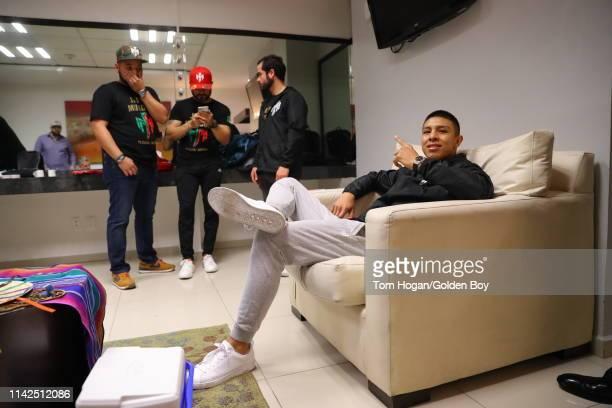 Jaime Munguia relaxes on April 13 at Arena Monterrey in Monterrey Mexico
