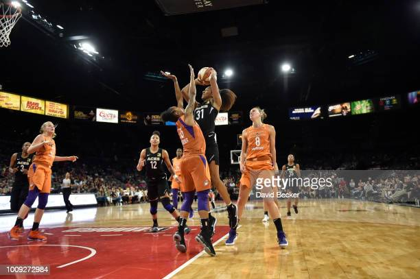 Jaime Nared of the Las Vegas Aces shoots the ball against the Phoenix Mercury on August 1 2018 at the Mandalay Bay Events Center in Las Vegas Nevada...