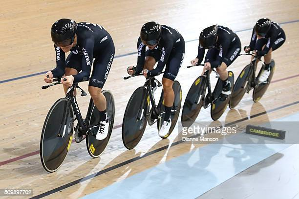 Jaime Nielsen Rushlee Buchanan Lauren Ellis and Georgia Williams of New Zealand during a 4000m Team Pursuit time trial at the New Zealand Track...