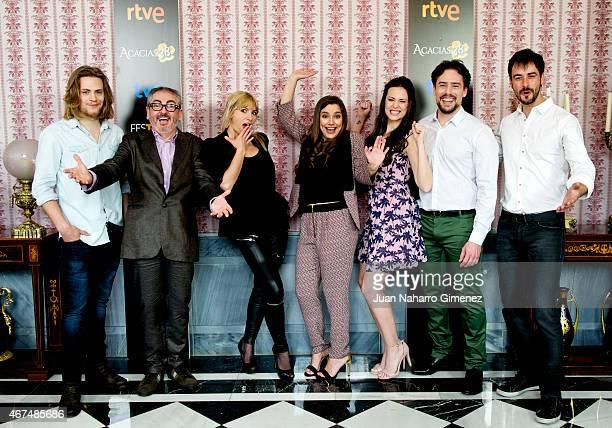 Jaime Olias, David Muro, Sara Miquel, Sheila Faria, Cristina Abad, Roger Berruezo and Iago Garcia attend 'Acacias 38' photocall during FesTVal Murcia...