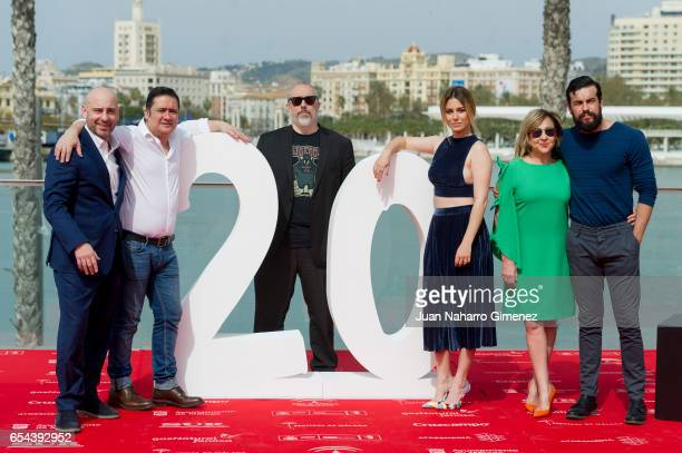 Jaime Ordonez Secun de la Rosa Alex de la Iglesia Blanca Suarez Carmen Machi and Mario Casas attend 'El Bar' photocall at Muelle Uno on March 17 2017...