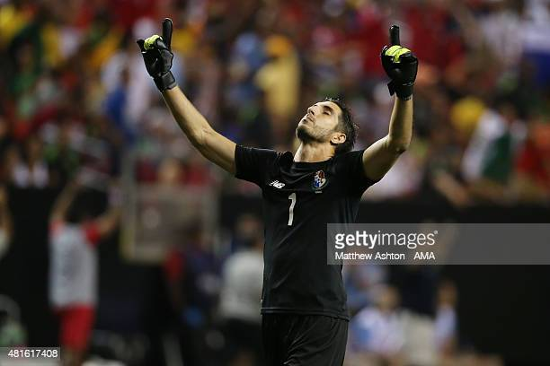 Jaime Penedo of Panama celebrates after the opening goal during the 2015 CONCACAF Gold Cup Semifinal between Panama and Mexico at Georgia Dome on...