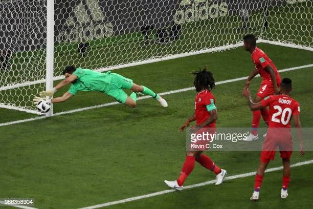 Jaime Penedo of Panama makes a save during the 2018 FIFA World Cup Russia group G match between Panama and Tunisia at Mordovia Arena on June 28 2018...