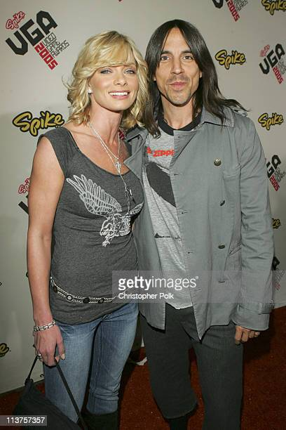 Jaime Pressly and Anthony Kiedis during 2005 Spike TV Video Game Awards Red Carpet at Gibson Amphitheater in Universal City California United States