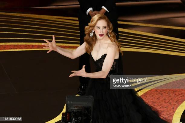 Jaime Ray Newman accepts the Best Live Action Short Film award for Skin onstage during the 91st Annual Academy Awards at Dolby Theatre on February 24...
