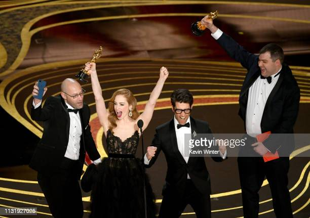 Jaime Ray Newman and Guy Nattiv accept the Best Live Action Short Film award for Skin onstage during the 91st Annual Academy Awards at Dolby Theatre...
