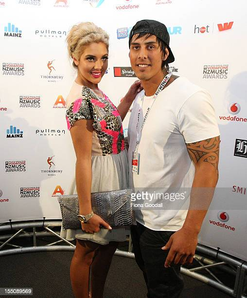 Jaime Ridge and Tame Noema pose after presenting awards during the 2012 Vodafone New Zealand Music Awards at Vector Arena on November 1 2012 in...