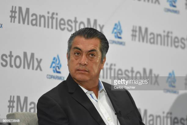 Jaime Rodríguez Calderón independent presidential candidate gestures during a conference as part of the 'Dialogues Mexico Manifesto' Event at Hilton...