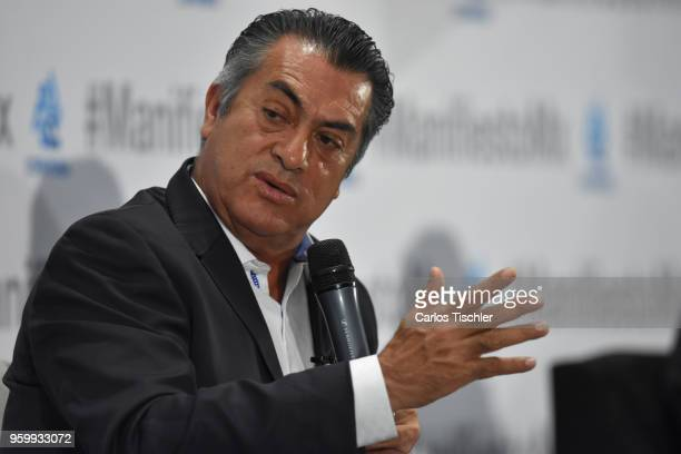 Jaime Rodríguez Calderón independent presidential candidate speaks during a conference as part of the 'Dialogues Mexico Manifesto' Event at Hilton...