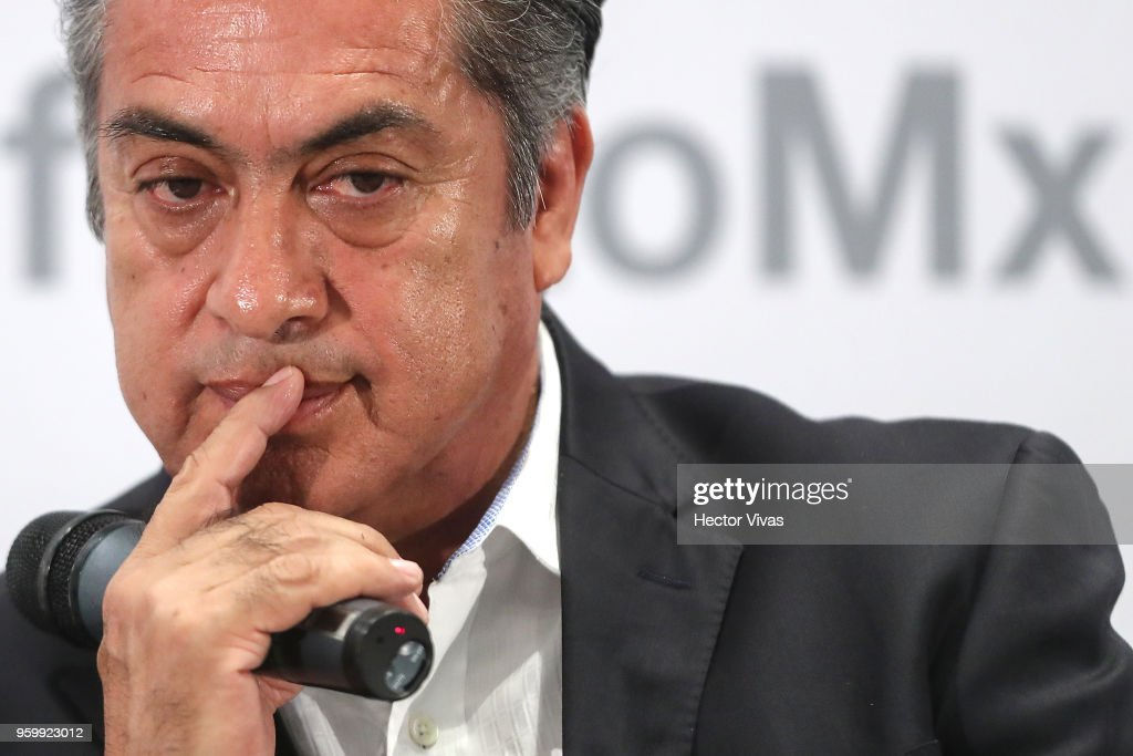 Jaime Rodriguez Calderon independent presidential candidate gestures during a conference as part of the 'Dialogues: Mexico Manifesto' Event at Hilton Hotel on May 17, 2018 in Mexico City, Mexico.