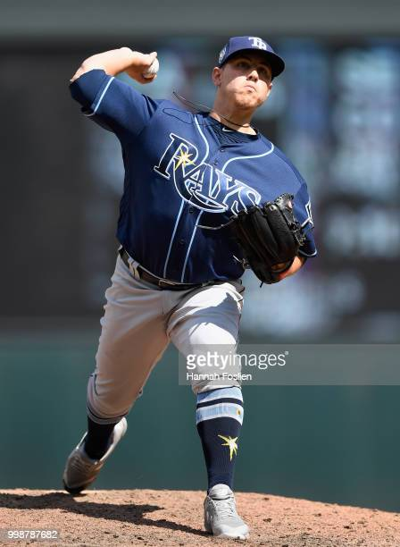Jaime Schultz of the Tampa Bay Rays delivers a pitch against the Minnesota Twins during the seventh inning of the game on July 14 2018 at Target...