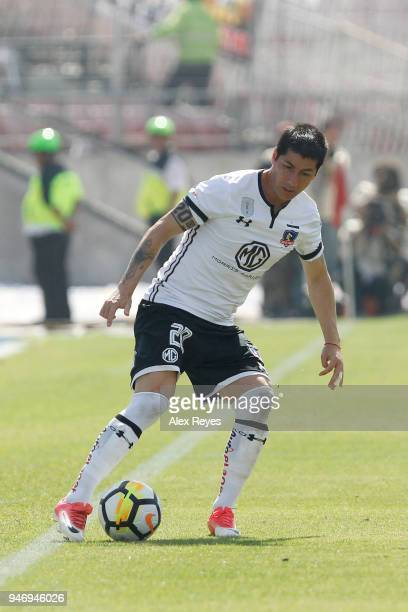 Jaime Valdes of Colo Colo controls the ball during a match between U de Chile and Colo Colo as part of Torneo Scotiabank 2018 at Nacional Stadium of...