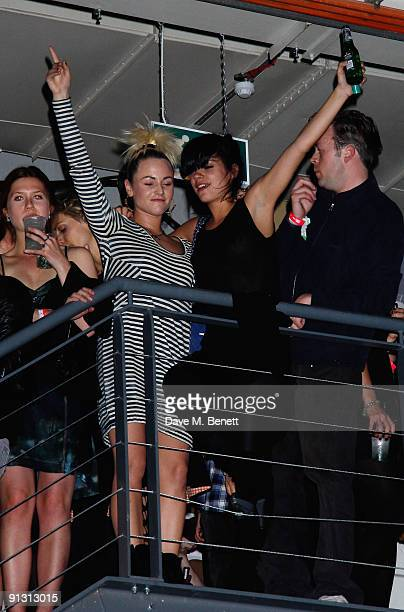 Jaime Winstone and Lily Allen dance at the DieselUMusic World Tour Party held at the University of Westminster on October 1 2009 in London England