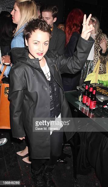 Jaime Winstone attends Stutterheim Raincoats PopUp Shop launch party at 30a Redchurch Street on November 22 2012 in London England