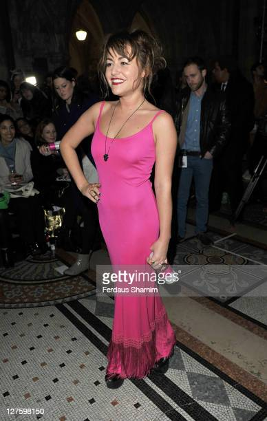 Jaime Winstone is seen arriving at the front row at the Giles show at London Fashion Week Autumn/Winter 2011 on February 21 2011 in London England