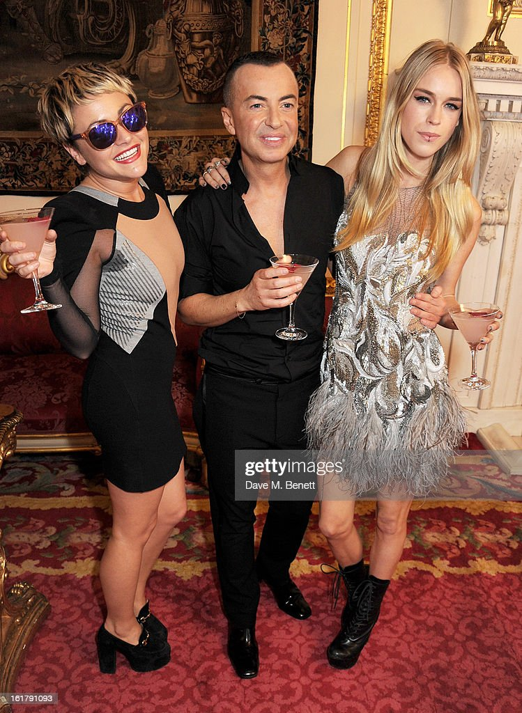 Jaime Winstone, Julien Macdonald and Mary Charteris pose backstage at the Julien Macdonald show during London Fashion Week Fall/Winter 2013/14 at Goldsmiths' Hall on February 16, 2013 in London, England.