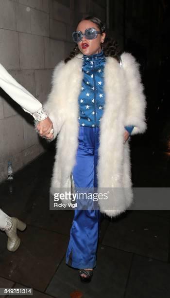 Jaime Winstone seen at Miu Miu X LOVE Magazine party at No 5 Hertford Street during London Fashion Week September 2017 on September 18 2017 in London...