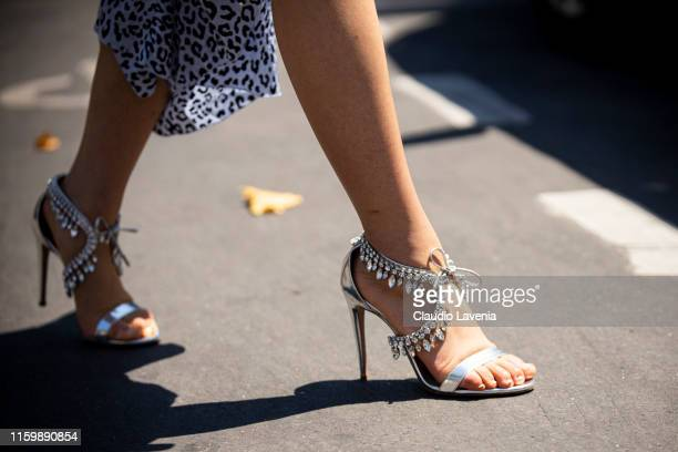Jaime Xie, Aquazzura shoes detail, is seen outside Elie Saab show during Paris Fashion Week - Haute Couture Fall Winter 2019 - 2020 on July 03, 2019...