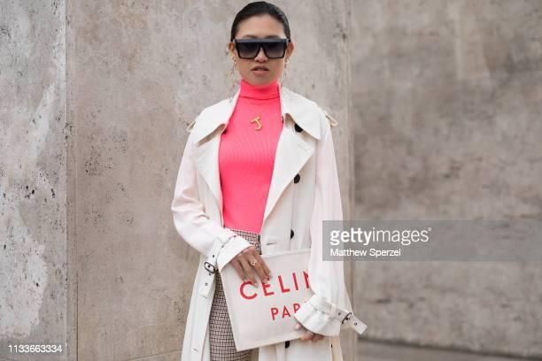 Jaime Xie is seen on the street attending SACAI during Paris Fashion Week  AW19 wearing white b5ebd2988f24f