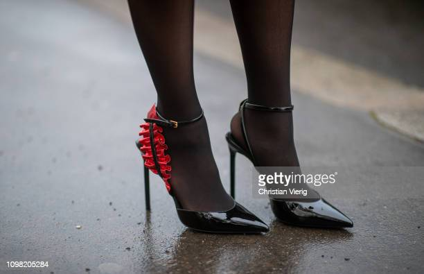 Jamie Xie is seen wearing Saint Laurent heels sheer tights outside Alexandre Vauthier during Haute Couture Spring Summer 2019 Day Two on January 22...